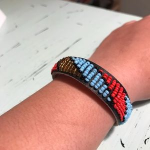 Guang Tong Jewelry - Vintage Guang Tong Beaded Boho Leather Bracelet